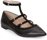 French Connection Black Geklin Studded T-Strap Pointed Toe Flats