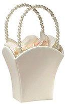 Lillian Rose Plain Pearl Handle Ivory Flower Basket