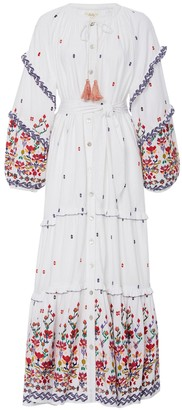 White Kenko Floral Embroidered Dress