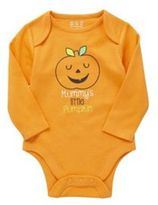 F&F Mummys Little Pumpkin Slogan Long Sleeve Halloween Bodysuit, Newborn Unisex