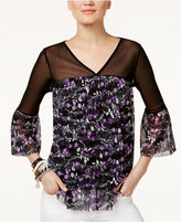 INC International Concepts Petite Floral-Print Illusion Top, Only at Macy's