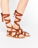 London Rebel Ankle Tie Gladiator Flat Sandals