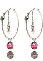 Alexander McQueen Crystal and pearl-embellished hoop earrings