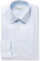 Etro Blue Slim-Fit Cotton-Jacquard Shirt
