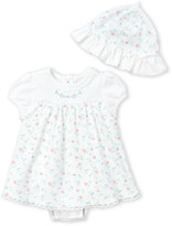 Little Me Newborn/Infant Girls) Two-Piece Popover Dress & Hat Set