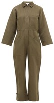 Apiece Apart Ares Linen And Cotton-blend Twill Jumpsuit - Womens - Khaki