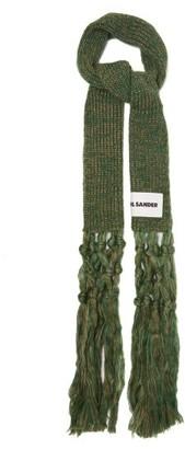 Jil Sander Macrame-tassel Mohair-blend Scarf - Green