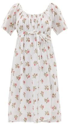 Thierry Colson Plum Floral-print Cotton-voile Dress - Womens - White Print