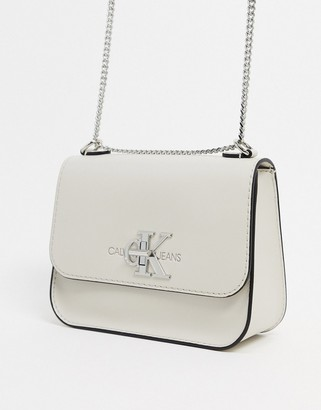 Calvin Klein cross body bag with chains in stone