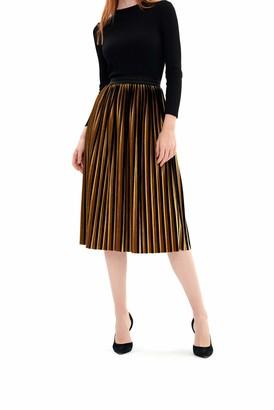 Charis Allure Women's Striped Velvet Velour Midi Skirt Metallic Shiny A Line Pleated Swing Skirt