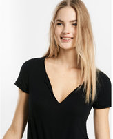 Express one eleven rolled sleeve notch neck tee