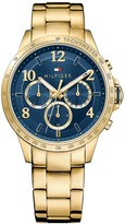 Tommy Hilfiger Gold Bracelet Watch With Blue Face