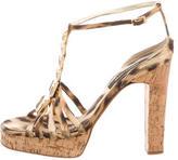 Roberto Cavalli Satin Leopard Sandals