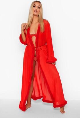 boohoo Plus Gemma Collins Kimono Robe With Fluffy Trim