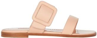 Manolo Blahnik Leather Buckle Flat Sandals