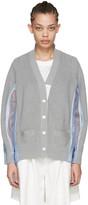 Sacai Grey Organza Striped Cardigan