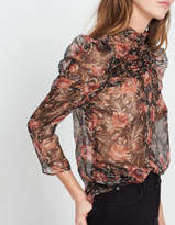 Light top with metallic floral print