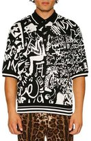 Dolce & Gabbana Jazz-Print Jacquard Knit Silk Polo Shirt, Black/White
