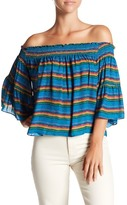 Nicole Miller Tropical Stripes Smocked Off-the-Shoulder Silk Blouse