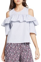 BCBGeneration Ruffle Cold-Shoulder Top