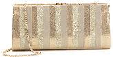 Kate Landry Metallic Striped Frame Clutch