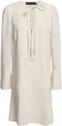 Proenza Schouler Tie-neck Textured-crepe Mini Dress