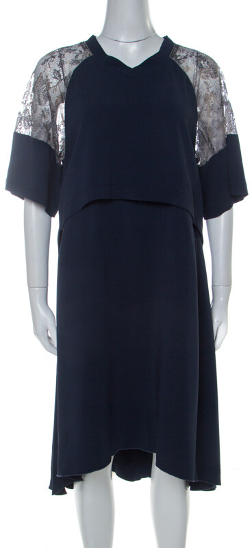 Philosophy di Alberta Ferretti Philosophy Navy Blue Lace Detail Layered Shift Dress M