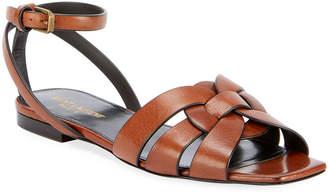 Saint Laurent Nu Pieds Woven Leather Ankle-Strap Flat Sandals