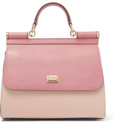 Dolce & Gabbana Sicily Medium Lizard-effect Leather Tote - Pink