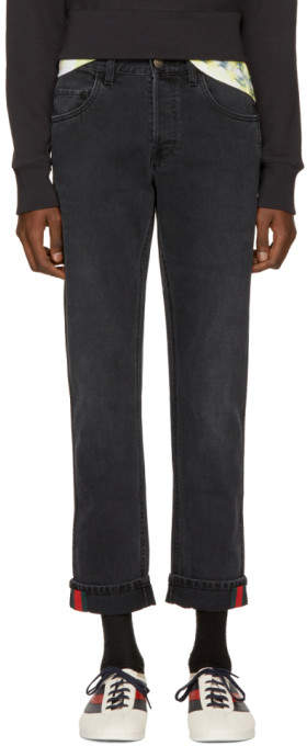 Gucci Black Tapered Web Jeans