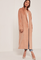 Missguided Nude Textured Shawl Collar Maxi Coat