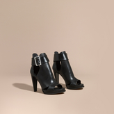 Burberry Buckle Detail Peep-toe Platform Ankle Boots