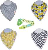 Baby Bandana Drool Bibs and Pacifier Clip 4 Pack For Boys and Girls Organic Cotton From HnyBaby