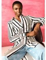 River Island Womens Cream RI Studio stripe asymmetric shirt dress