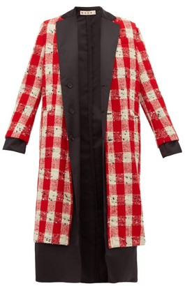 Marni Checked Wool Blend Boucle Coat - Womens - Red White