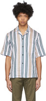 Acne Studios White and Yellow Striped Short Sleeve Shirt
