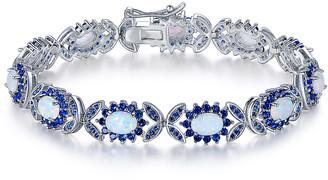 Peermont Women's Bracelets Silver - Fire Opal & Sapphire Butterfly Tennis Bracelet