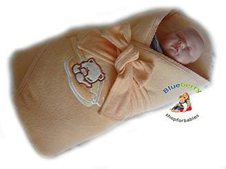 BlueberryShop Jersey Embroidered Swaddle Wrap/Blanket for Newborn Baby with Stiffened/Hard Back, Apricot