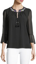 T Tahari 3/4-Sleeve Beaded-Trim Blouse