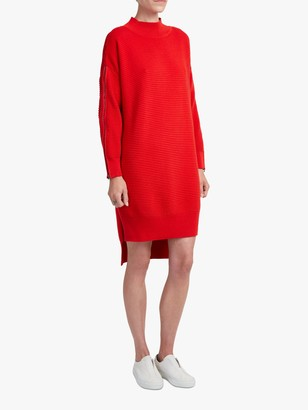 French Connection Zip Sleeve Jumper Dress, Mars Red