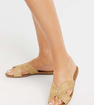 Co Wren Wide Fit slip on sandals in natural woven