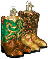 """4"""" Cowboy Boots Ornaments - Gold - OLD WORLD CHRISTMAS"""
