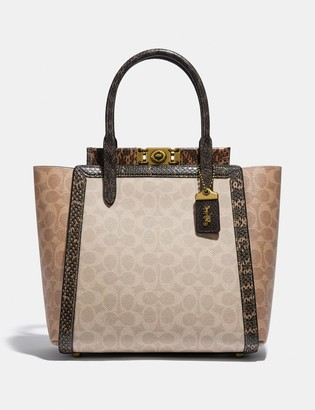 Coach Troupe Tote In Signature Canvas With Snakeskin Detail