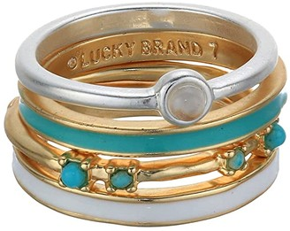 Lucky Brand Turquoise Stack Rings (Two-Tone) Ring