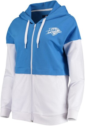 G Iii Women's G-III 4Her by Carl Banks Blue/White Oklahoma City Thunder Game Changer French Terry Colorblock Full-Zip Hoodie