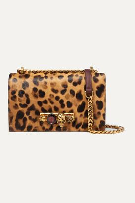 Alexander McQueen Jewelled Satchel Embellished Leather And Leopard-print Calf-hair Shoulder Bag - Leopard print