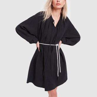 Bassike Linen Gathered Neck Shirt Dress