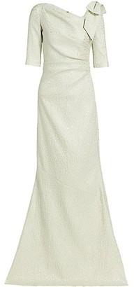 Teri Jon by Rickie Freeman Jacquard Bow Metallic Gown