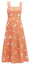 Rebecca Taylor Lita Linen And Cotton-blend Midi Dress - Womens - Coral