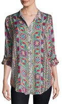 Johnny Was Rosetto Button-Front Printed Tunic, Plus Size